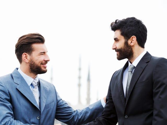 two men having real-world conversation