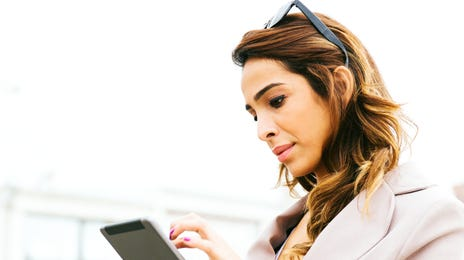 girl attending a self-paced course on her tablet