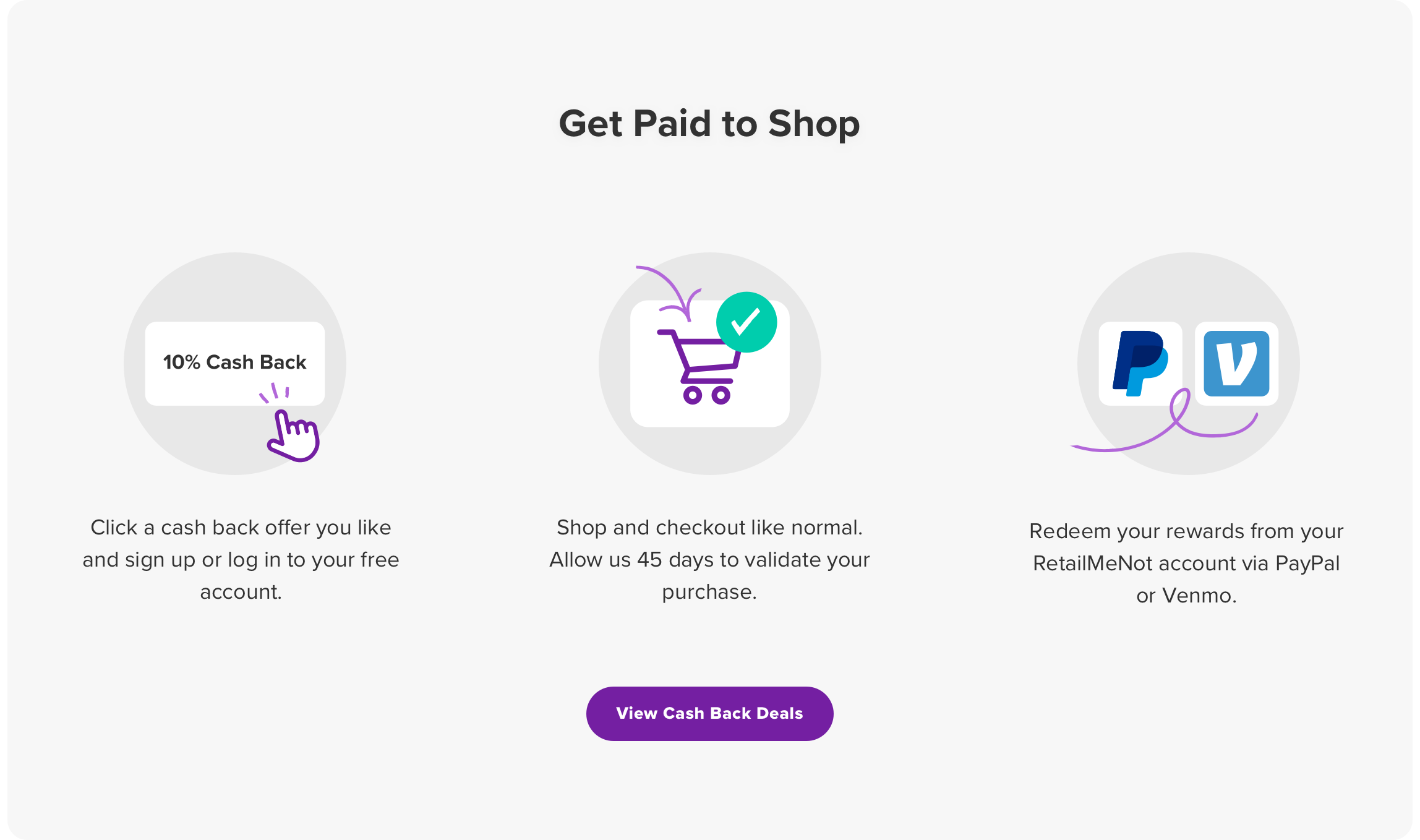 Get Paid to Shop  Click a cash back offer you like and sign up or log in to your free account. Shop and checkout like normal. Allow us 45 days to validate your purchase. Redeem your rewards from your RetailMeNot account via PayPal or Venmo. View Deals