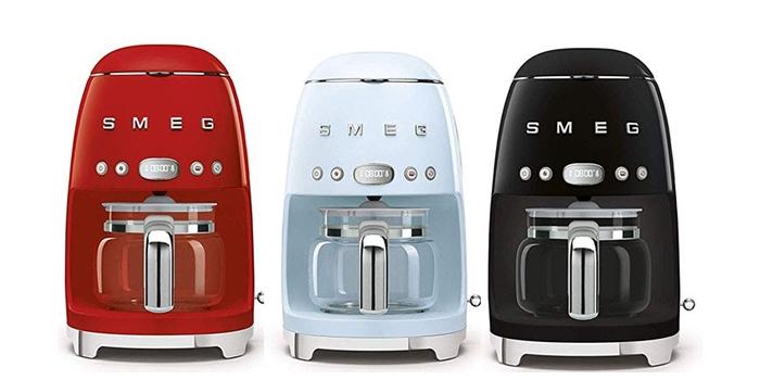 Smeg Drip Coffee Maker Red Blue and Black