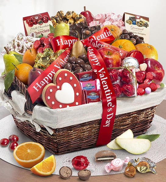 Happy Valentine's Day Fruit & Sweets Basket