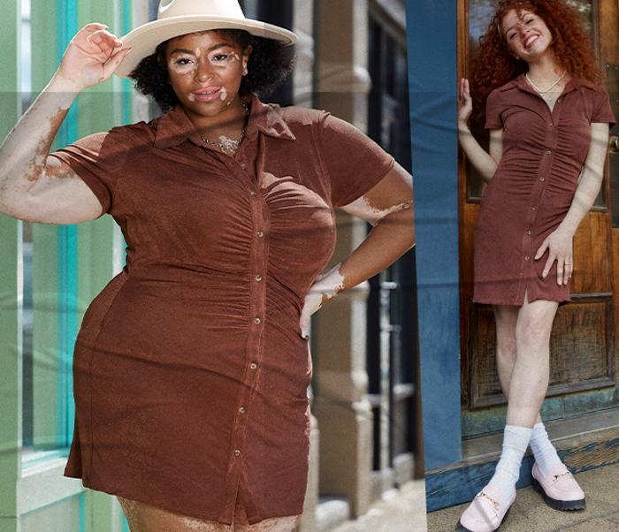 Find the IT Dress in sunset tans and rich shades of dark chocolates