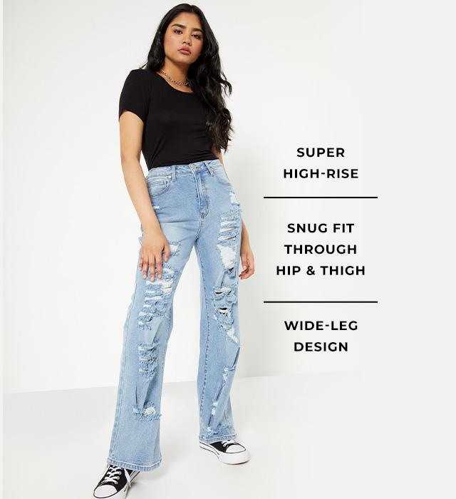 girls skate jeans, super high rise, snug fit through hip & thigh, wide-leg design
