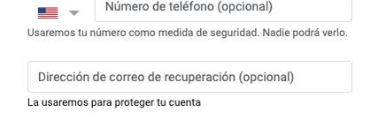 Crear cuenta de correo electrónico - Gmail (tercer paso)
