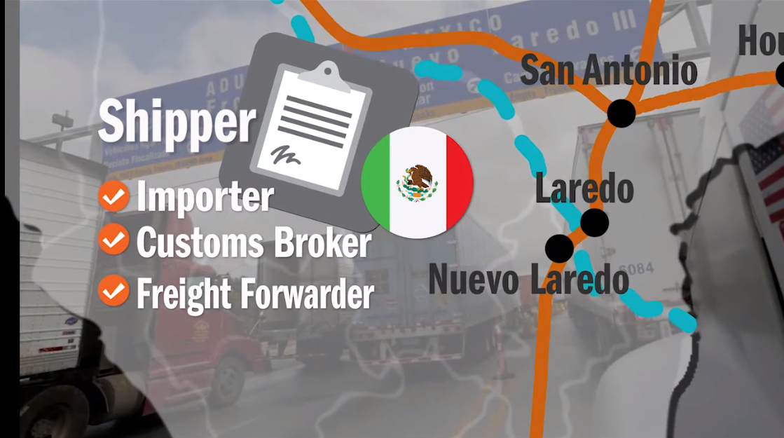 Southbound truckload freight shipping from the United States to Mexico, a process video