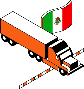 A Schneider truck moving across the border with a flag of Mexico cover image
