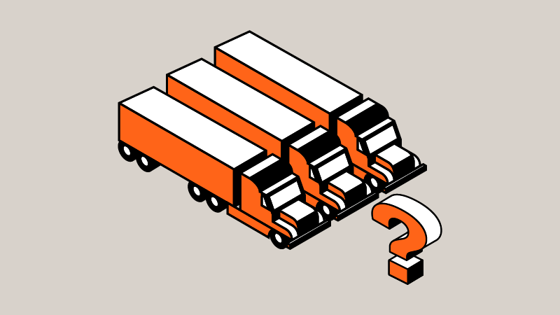 Three orange trucks near an orange questions mark indicating what is dedicated transportation