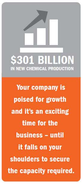 $301 Billion in new chemical production: Your company is poised for growth and it's an exciting time for the business - until it falls on your shoulders to secure the capacity required.