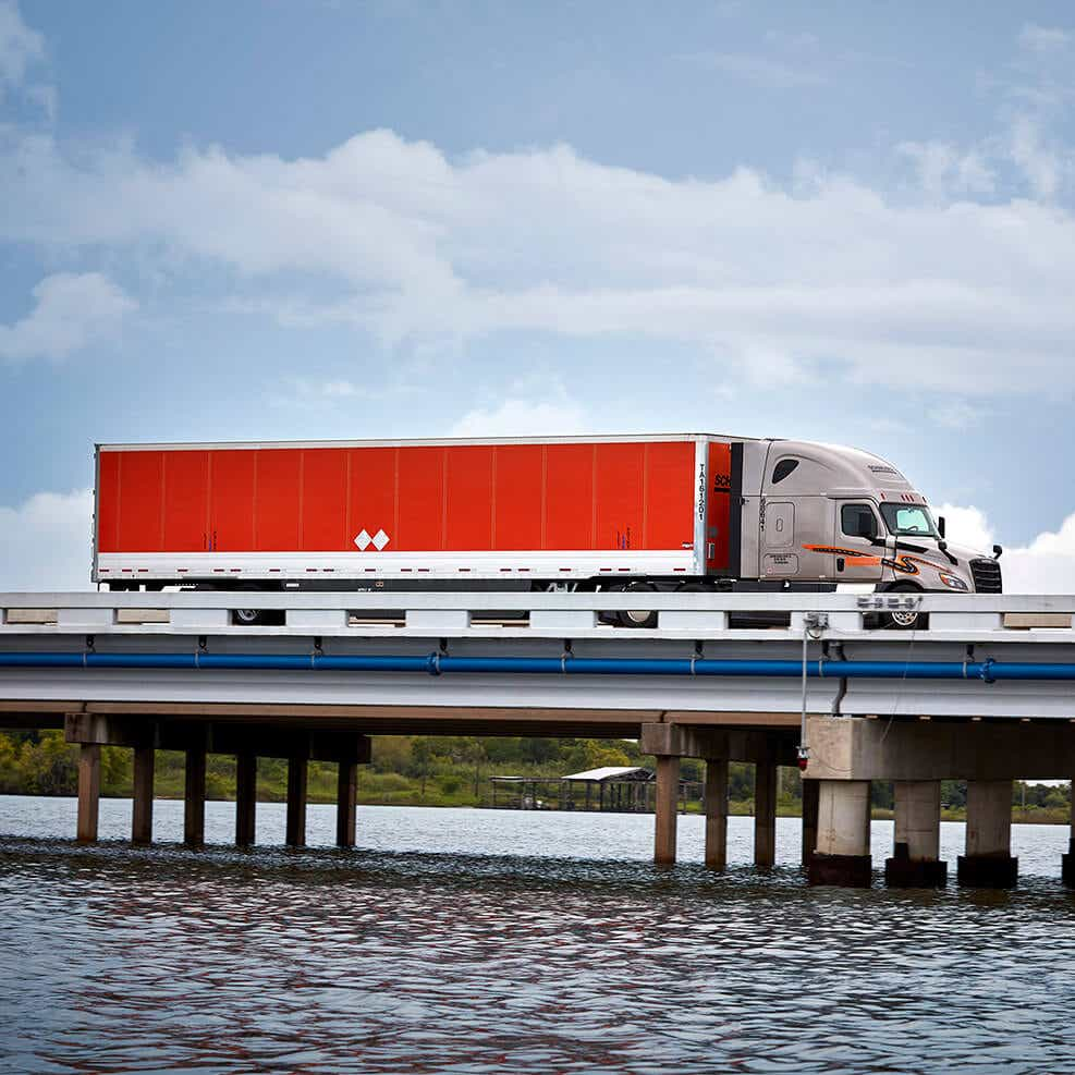 Schneider truck on a bridge