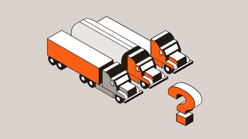 Three orange trucks near an orange questions mark indicating what is dedicated transportation