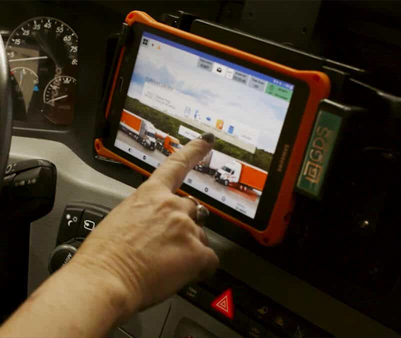 innovative driver tablet in truck