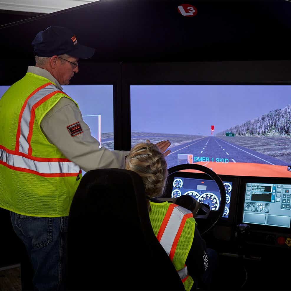 Schneider driver in a driving simulator