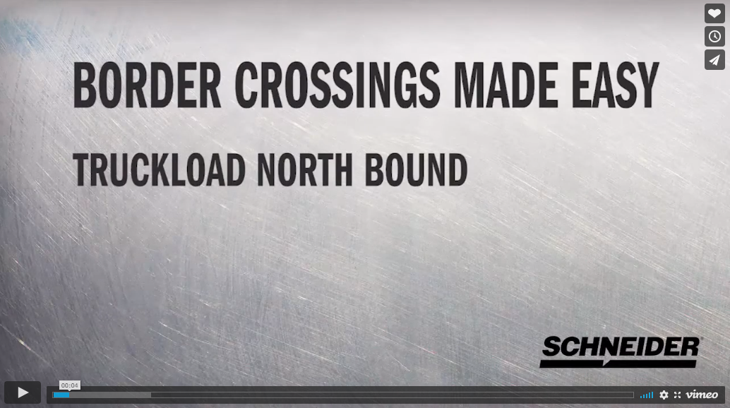 Northbound truckload freight shipping from Mexico to the United States video image