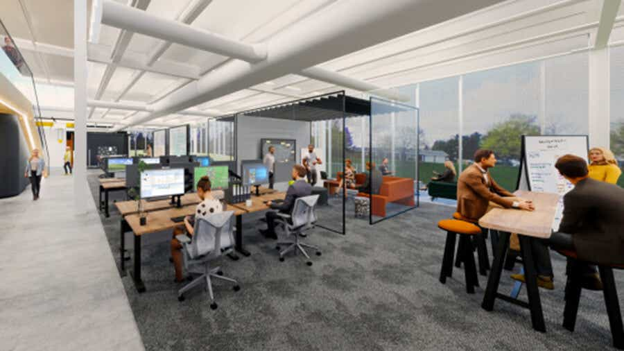 rendering of the new building's interior