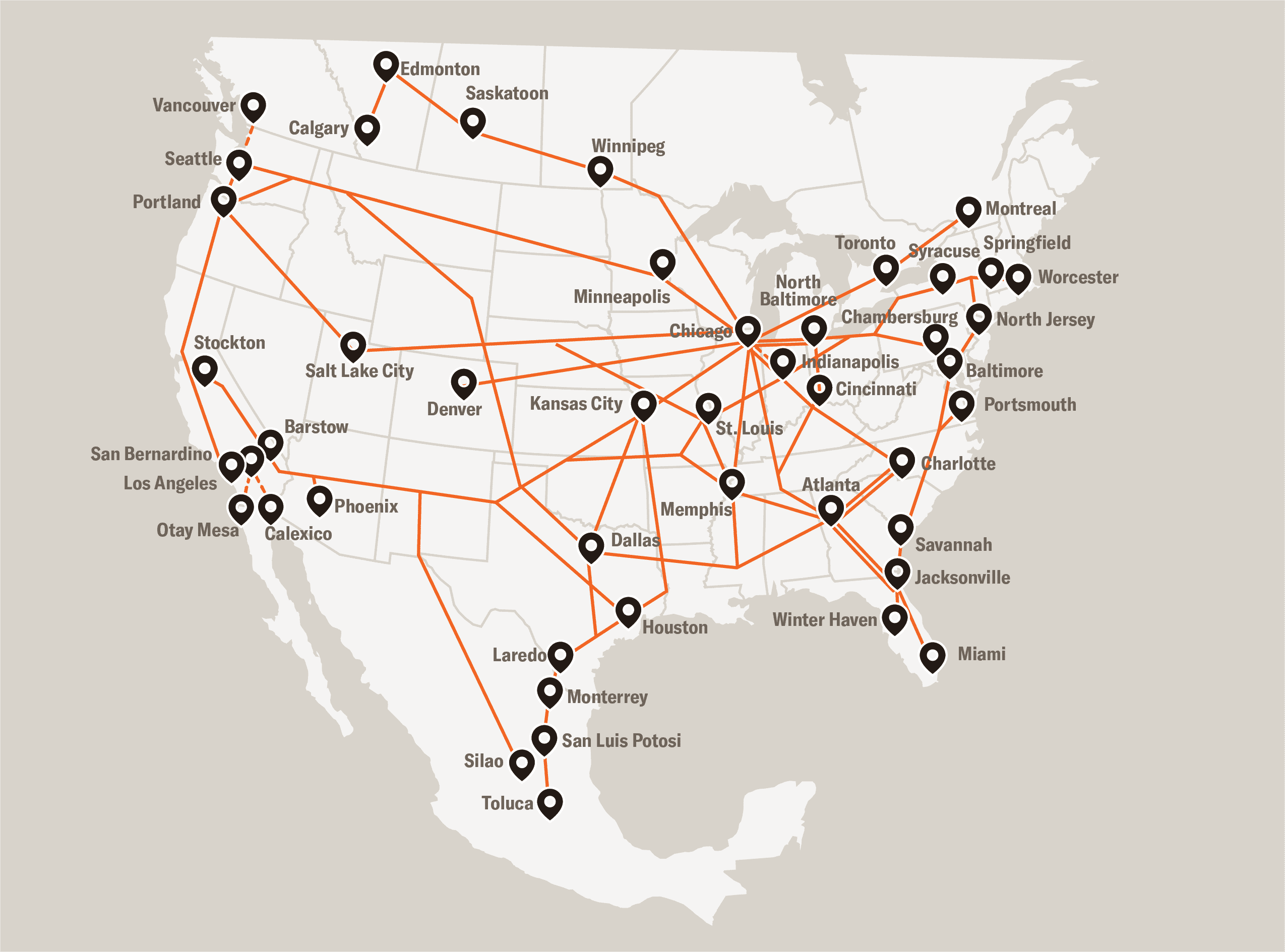Schneider intermodal network map