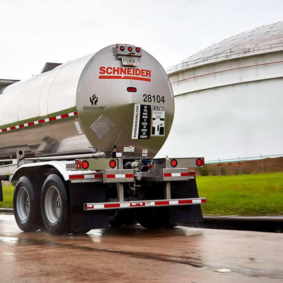 back side of a chemical bulk trailer