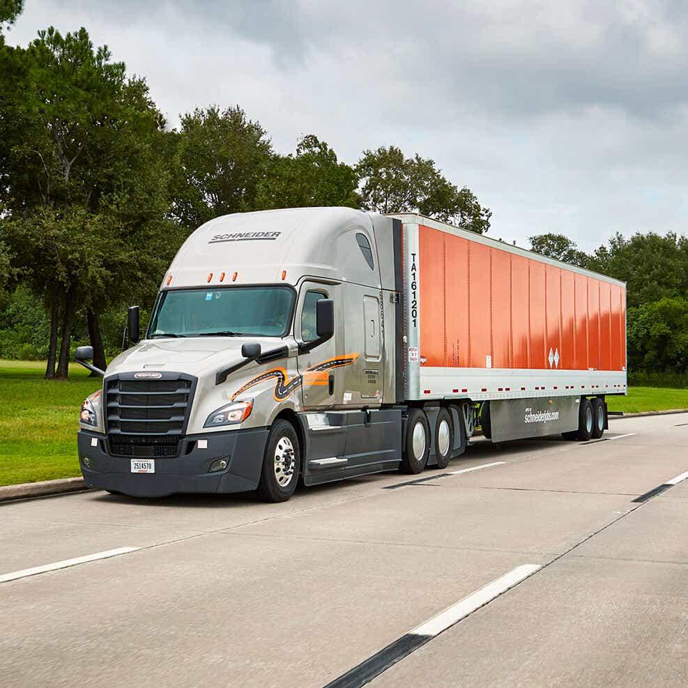 Schneider truck delivering medical supplies