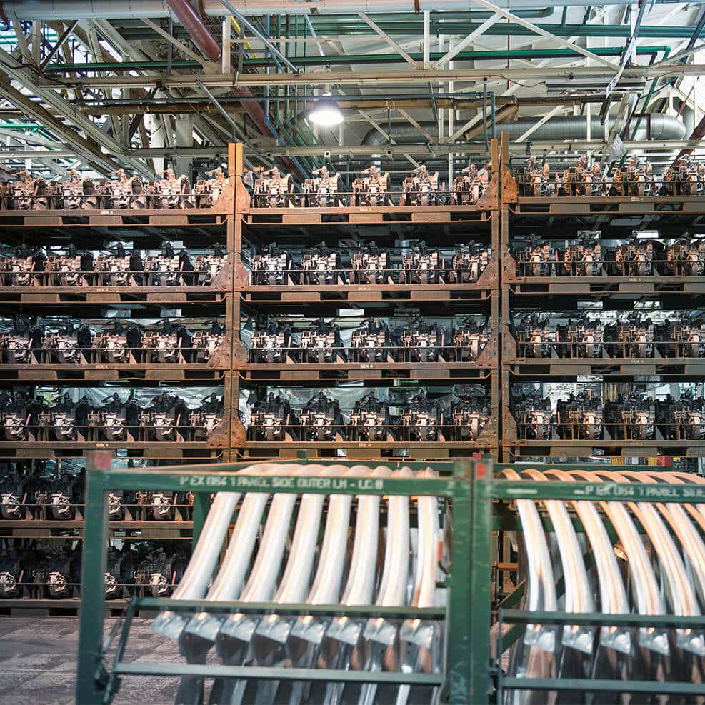 photo of automotive parts in a warehouse