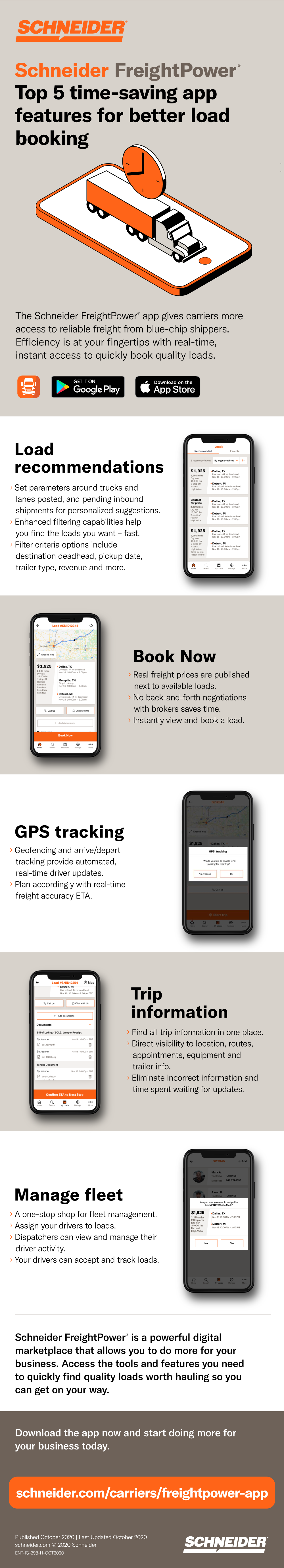 infographic of Schneider FreightPower app for carriers