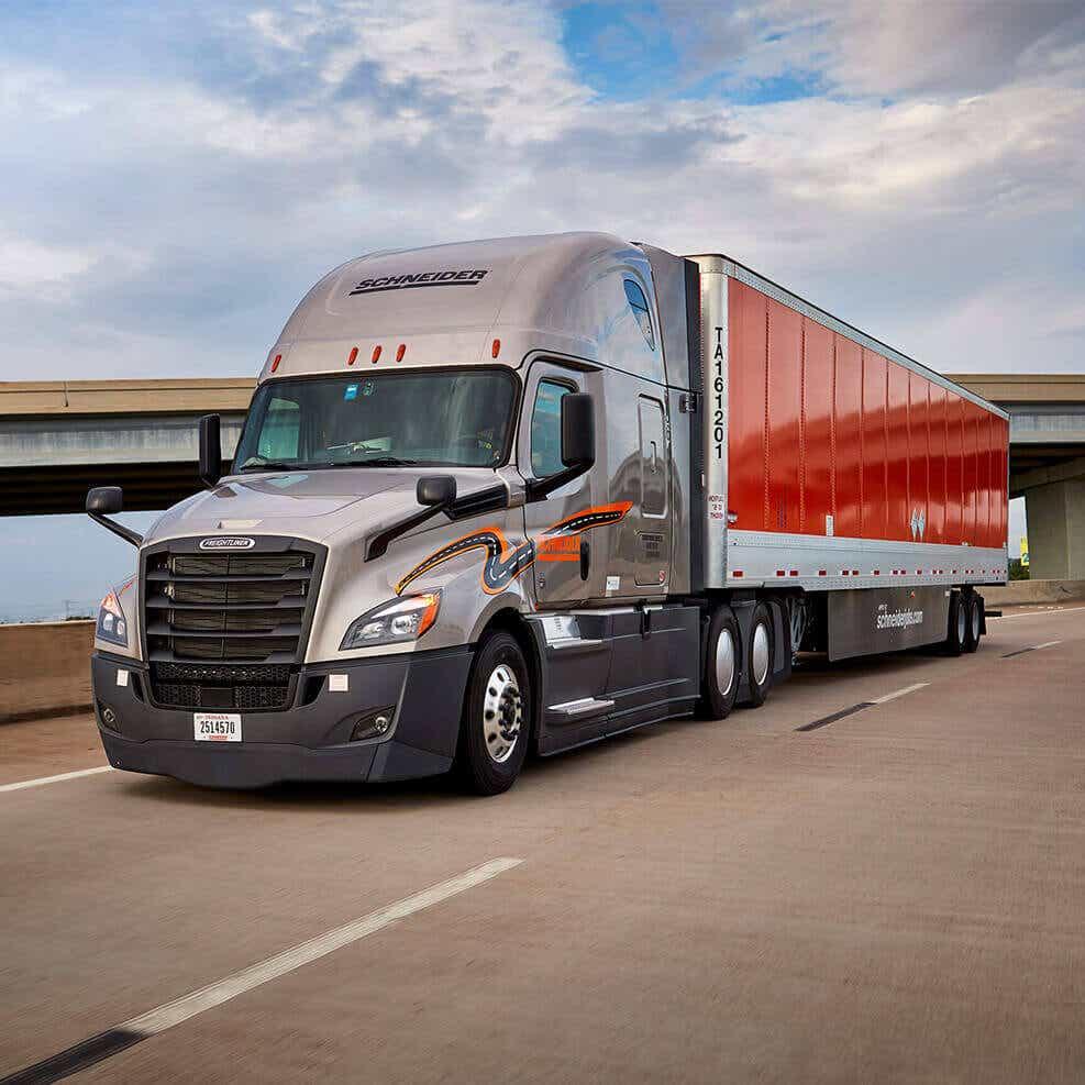 image of Schneider freight truck