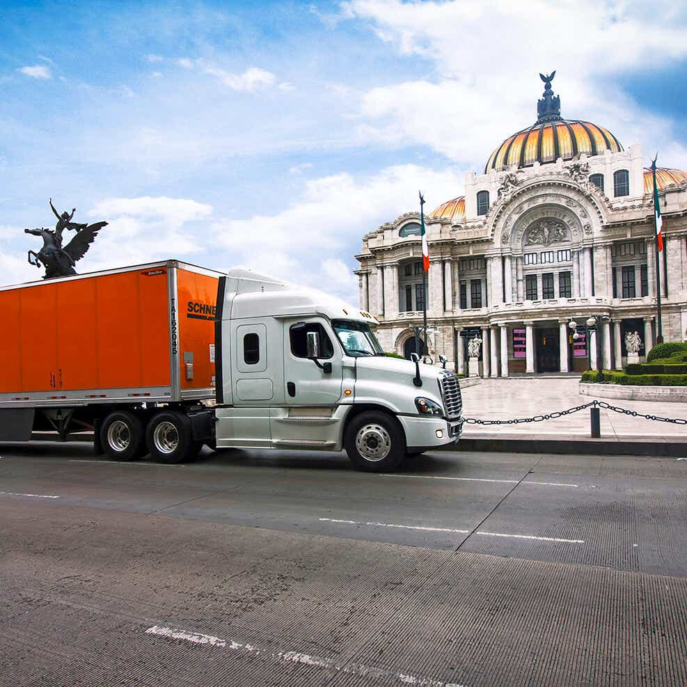 Schneider truck in Mexico