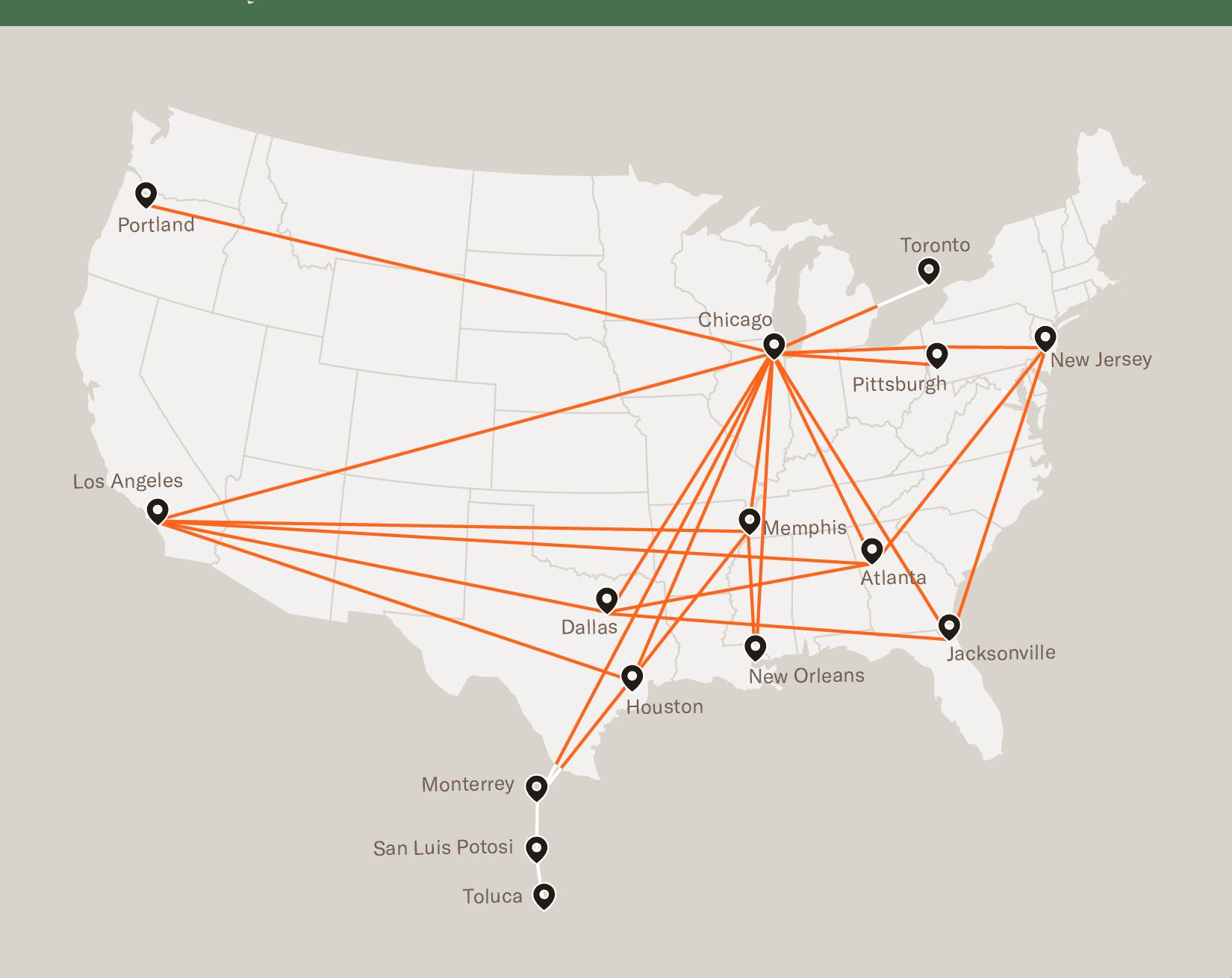 bulk express intermodal service map