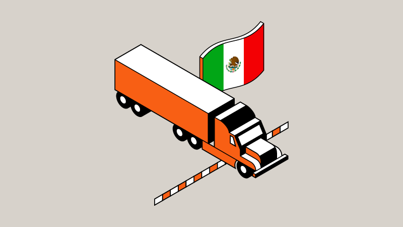 A truck moving across the border with a flag of Mexico cover image