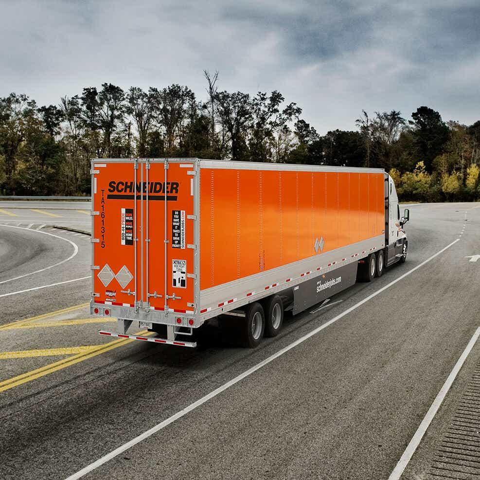 back of a Schneider truck delivering automotive parts