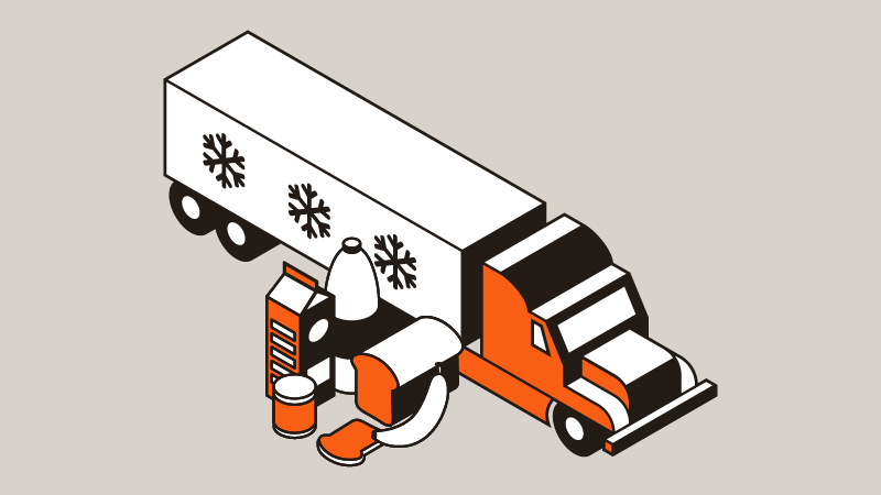 icon of refrigerated tractor with food in front of it