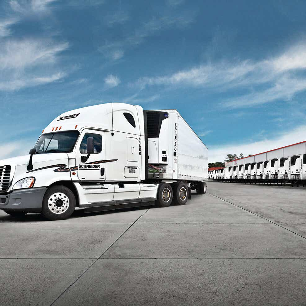 white refrigerated semi-truck image