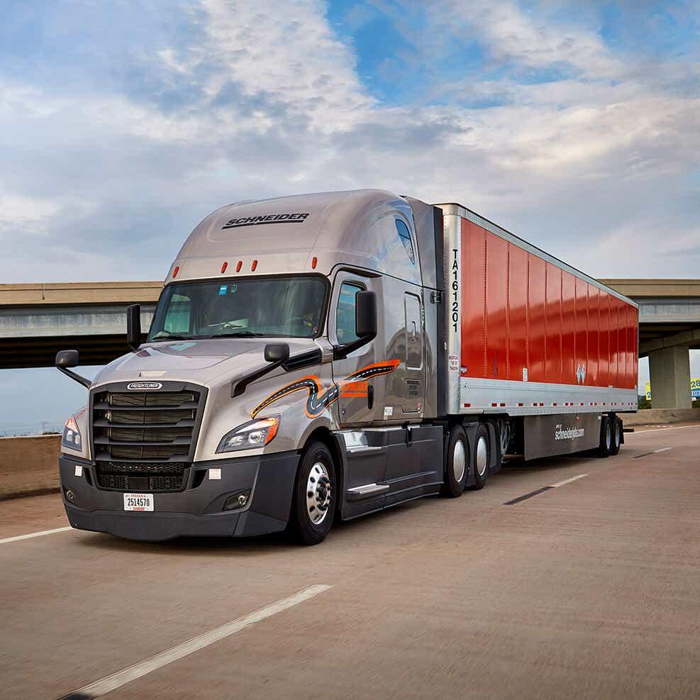 Schneider truck shipping automotive parts