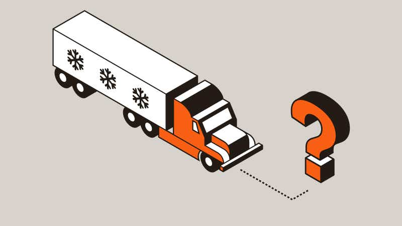 Refrigerated truck with dotted line to question mark icon