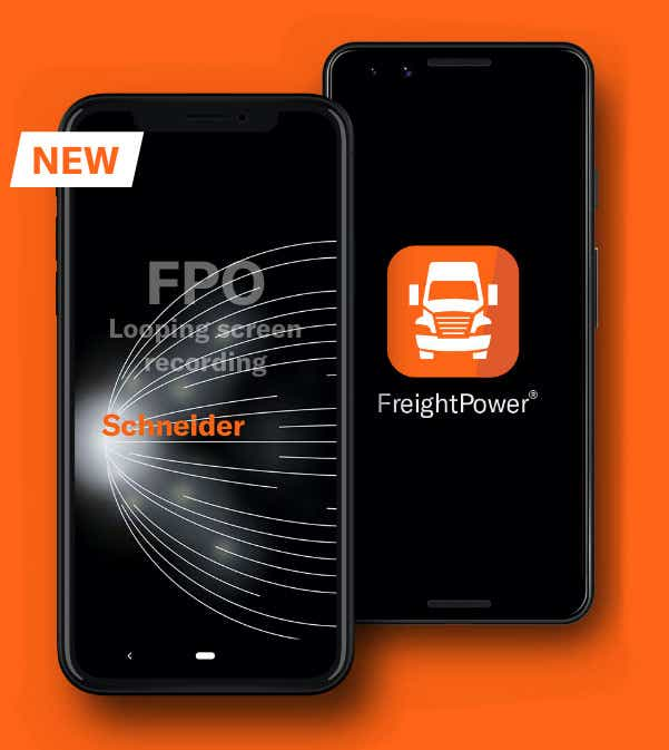 image of a phone with the FreightPower® app on the screen