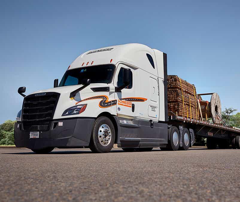 Schneider flatbed truck