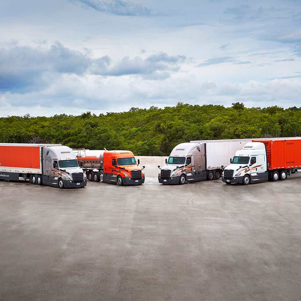 variety of Schneider trucks which can ship electronics