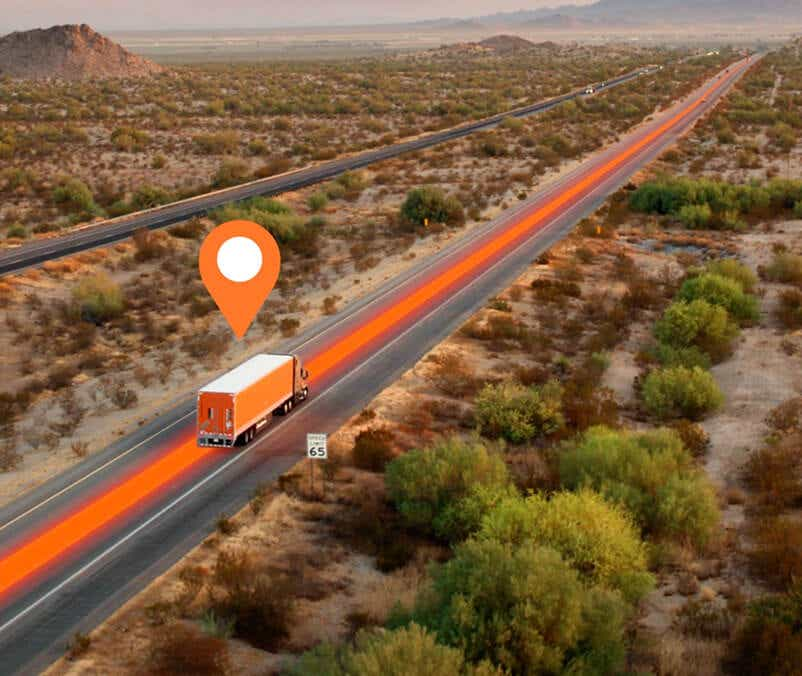 """Schneider Freightpower® marketplace image with a truck and a """"book now"""" feature"""
