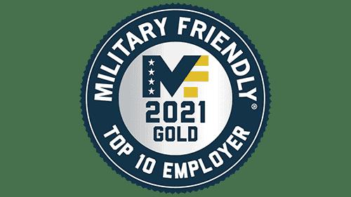 VIQTORY's Military Friendly Top 10 Employer award, 2021 logo