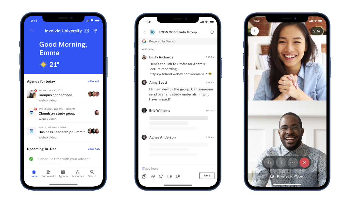 Involvio keeps students connected with Webex messages and meetings