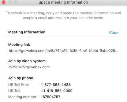 Space Meeting information