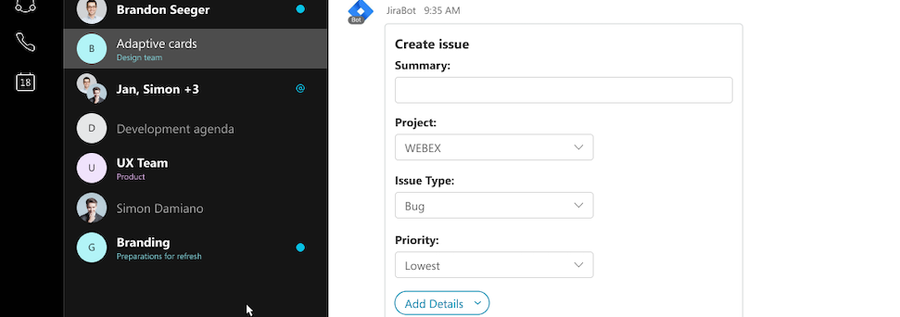 It's here: Buttons and Cards for your Webex Teams Apps