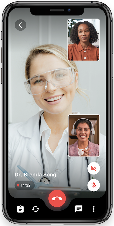 Remote healthcare app with multistreaming
