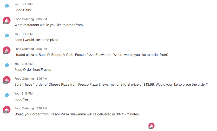 An interaction with the food-ordering bot on Webex Teams