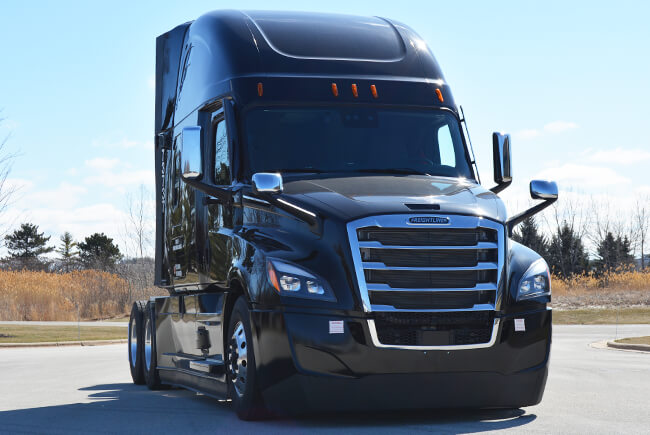 Parked 2022 Freightliner Cascadia semi-truck