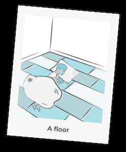 A child sleeping on the floor