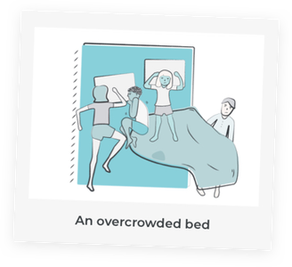 A child sleeping in an overcrowded bed