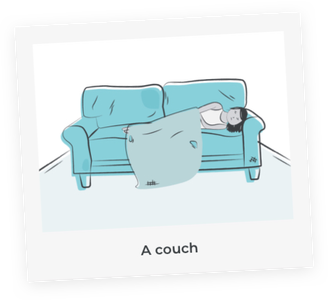 A child sleeping on a couch