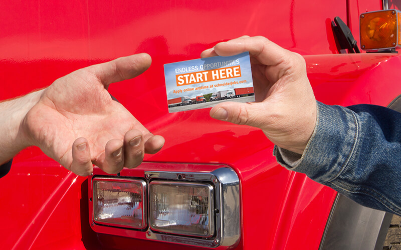 drivers exchanging referral cards
