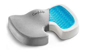 A display of the ComfiLife Gel Enhanced Seat Cushion shows the interior of the product consists a foam base with a thin gel layer on the top of the cushion. The grey cushion cover is then layered on top of the foam and gel.