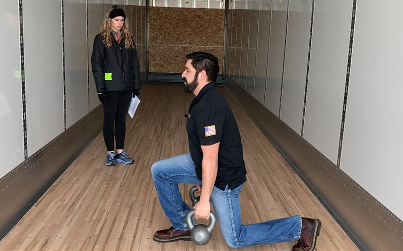 Dan does lunge exercises as part of his truck driver workout.
