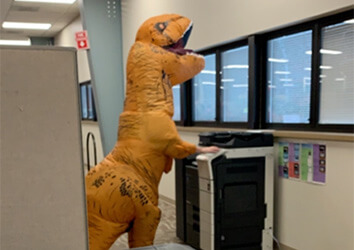A dinosaur was spotted in the Logistics Department on Halloween.